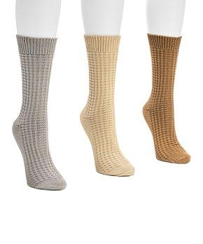 25b24ec12 all gone. Gray Waffle Three-Pair Crew Socks Set - Women