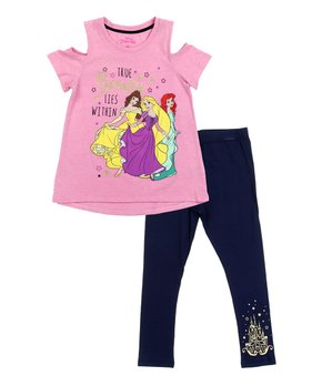 31b9e2ca2 Penguin Kids Wear | Pink Disney Princess 'True Beauty' Cold-Shoulder …