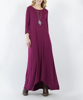 76e72bf48bff42 Lydiane | Plum Three-Quarter Sleeve Two-Pocket Maxi Dress - Women