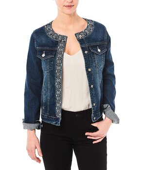 1a7c3a715 Nicole Miller New York | Midhampton Wash Jean Jacket - Women. shop now. Live  A Little | White Lace-Accent Zip Track ...