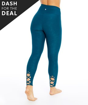 bd52b6b232 Bally Total Fitness | Deep Teal Embossed Lace-Back High-Waist Legging…