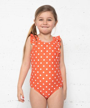 00b6ded7d6 Marina West | Carrot & White Polka Dot One-Piece - Toddler & Girls