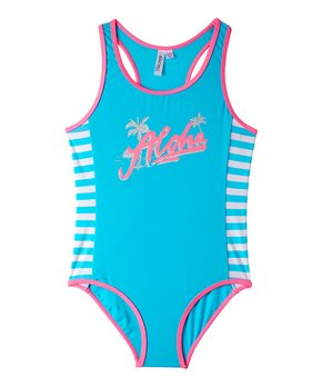 2ccdc1d109 Big Chill | Turquoise & Pink Stripe 'Aloha' One-Piece - Girls