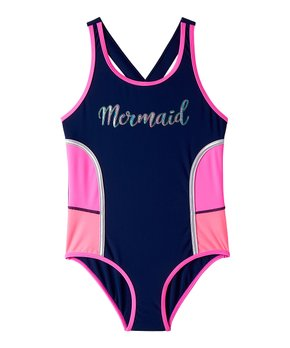 f5a81f15d0 Big Chill | Navy & Pink Color Block 'Mermaid' One-Piece - Girls