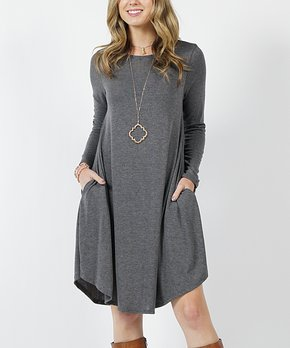 Lydiane Charcoal Lightweight Pocket Long Sleeve Sweater Dress Wom