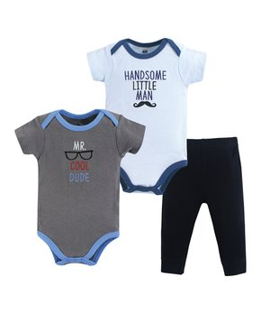 eaca87496 Hudson Baby | Light Blue & Blue 'Cool Dude' Bodysuit Set - Newborn & …