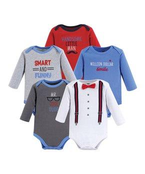7ae0238ddb6c Hudson Baby | Red & Blue 'Cool Dude' Five-Piece Bodysuit Set - Newbor…