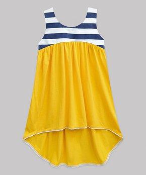 a8df98c83fc79 Yellow & Navy Stripe Hi-Low Dress - Infant, Toddler & Girls