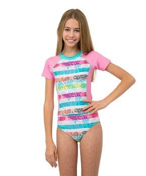 3b27910c26 Jantzen | Pink & Blue Tropical Stripe Rash Guard Set - Girls