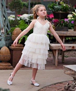 c13738f5530e Ivory Lace-Bodice Tulle-Tiered Pascala Dress - Toddler & Girls