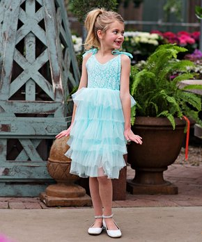641d8640f2c1 Just Couture | Mint Lace-Accent Tiered Pascala Dress - Toddler & Girls
