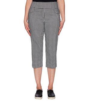 8a0f538f29435 Ruby Rd. | Black & White Gingham Capri Pants - Plus