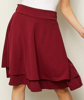 2b077de889 Milly Penzance | Burgundy Layered-Hem Circle Skirt - Women