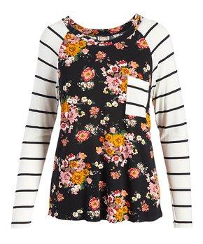 8751d07e5e52 Tru Self | Black & Pink Floral Contrast-Pocket Raglan Tee - Women