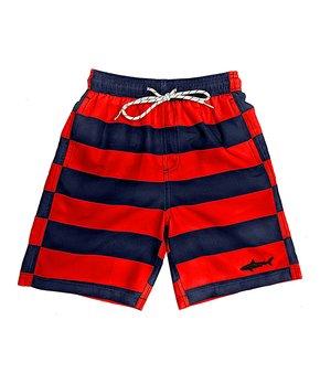 fa1e33d379 Uzzi Amphibious Gear | Red & Black Stripe Swim Trunks - Boys