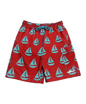 0524d0dcc1 Uzzi Amphibious Gear | Red Sailboats Swim Trunks - Boys