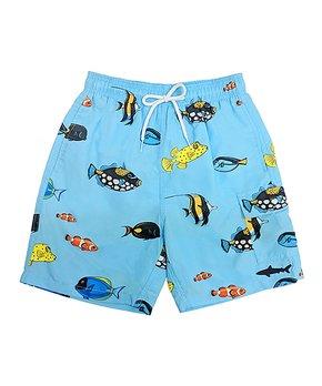 dade7debda Uzzi Amphibious Gear | Light Blue Aquarium Fish Swim Trunks - Boys