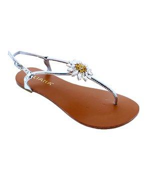 1e1f842ee8 Liliana Footwear | Silver Rhinestone Floral-Accent Olay Sandal - Women