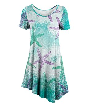 25c556a10 Lily | Turquoise & Purple Starfish Asymmetrical-Hem Tunic - Women & P…