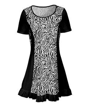 6771f463319 Lily | Black & White Zebra Short-Sleeve Ruffle-Hem Tunic - Women