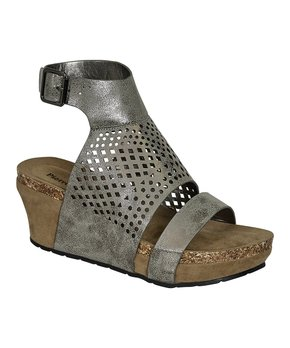 Pierre Dumas | Pewter Perforated Ankle-wrap Chantal Wedge Sandal - Wo…