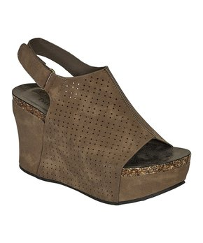 309baec740 Pierre Dumas | Taupe Perforated Slingback Hester Wedge Sandal - Women