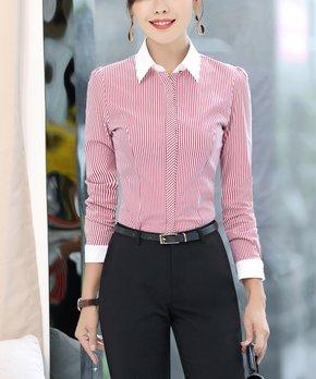 6e7f5256 Emma Way | White & Red Pinstripe Contrast-Collar Button-Up - Women