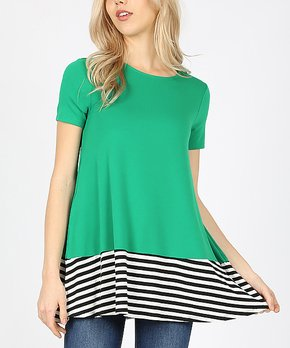 5be61ba744a Lydiane | Kelly Green Stripe Short-Sleeve Pocket Shift Top - Women