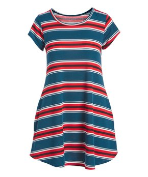 6bd92303 Cool Melon | Hunter Green & Red Stripe Scoop Neck Tunic - Women & Plus
