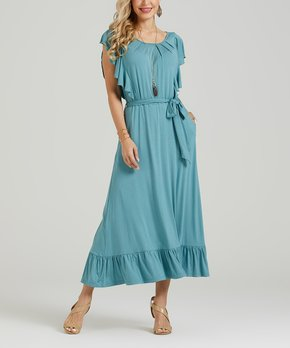 c05afe42ae Suzanne Betro Dresses | Blue Ruffle-Accent Tiered Midi Dress - Women