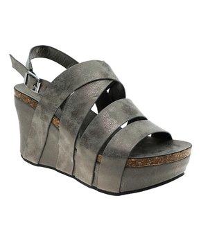 def79b15bc270 Pierre Dumas | Pewter Crisscross Hester Platform Wedge Sandal - Women