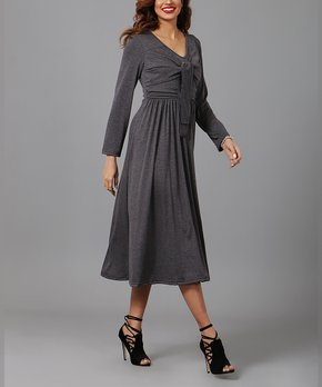 96208fc2 Reborn Collection | Charcoal Front Knot Midi Dress - Women & Plus
