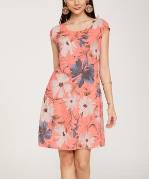 b46c8959cdb4 Ornella Paris | Coral Floral Side-Pocket Linen Shift Dress - Women