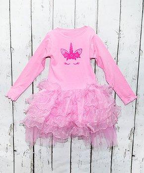 da34f1c0e75f Beary Basics | Pink Unicorn Face Long-Sleeve Tutu Dress - Girls