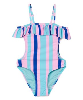 d9e2a75934f Envya Swimwear | Pink Stripe Ruffle Side-Cutout One-Piece - Girls