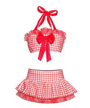 58866d240d Mia Belle Girls   Red Gingham Bow Skirted Bikini - Toddler & Girls