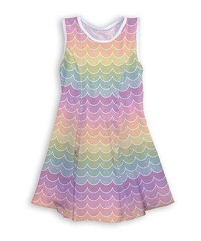 fb4dcc4510f8a Urban Smalls | Pastel Rainbow Mermaid Glitter Scales A-Line Tank Dres…