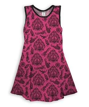 46d020e9595f3 Urban Smalls | Fuchsia & Black Mehendi Henna Tank Dress - Toddler & G…