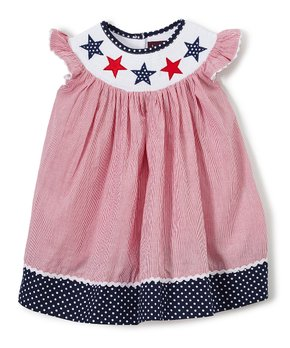 2530c192dc6698 Lil Cactus   Red Americana Smocked Bishop Dress - Infant & Girls