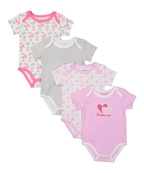 19d61586a Sweet & Soft | Pink & White Floral 'Sweetheart' Four-Piece Bodysuit S…