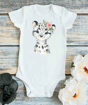 5ac6b8df9c26 Month 2 Month Baby   White Leopard Flower Bodysuit - Newborn & Infant