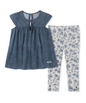068792de4 Blue Cap-Sleeve Top & Blue Floral Leggings - Infant & Girls