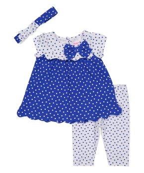 48dff58a5292 Blue Polka Dot Scalloped Tunic Set - Infant