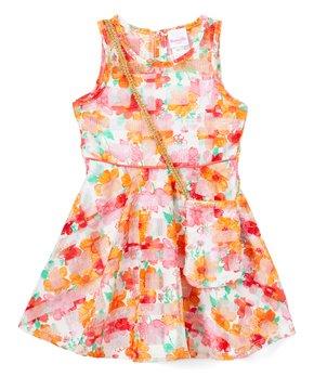 159ad504c Nannette Kids   Orange Floral A-Line Dress & Crossbody Bag - Toddler …