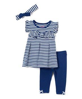 549c24f0577b Navy Stripe Leggings Set - Infant, Toddler & Girls