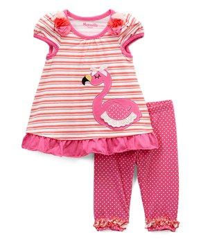 90fce92bc3f7 Nannette Kids | Pink & Coral Stripe Flamingo Swing Top & Pink Dot Leg…