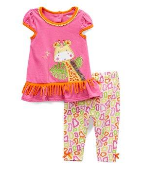 f88c0b94b Pink Giraffe Ruffle-Accent Swing Top & Giraffe Leggings - Toddler