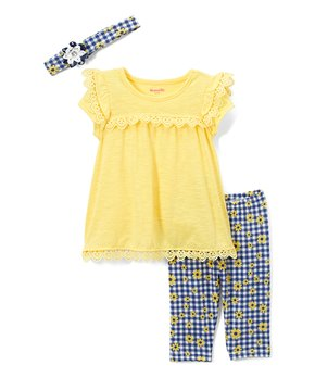 425c08061e67 Yellow Floral Checkerboard Leggings Set - Infant   Toddler