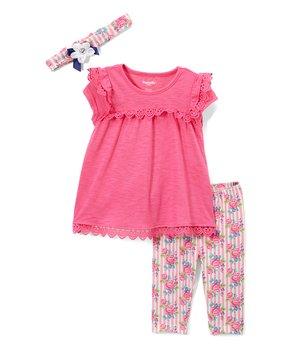 33025fdf151a Pink Stripe Floral Leggings Set - Infant