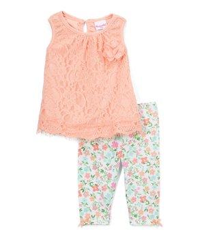 dd73cee76dfacf Nannette Kids | Coral Lace Sleeveless Tunic & Blue Floral Leggings - …